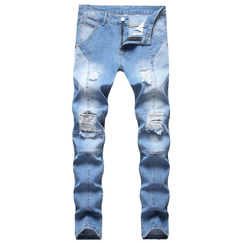 Erkek Kot Erkek Tasarım Moda Panelli Biker Sıska Sıkıntılı Açık Mavi Denim Pantolon Bırak Toptan Stok