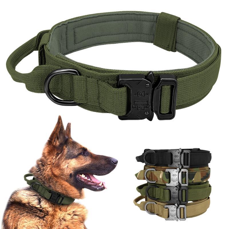 Taktischer Hundekragen Deutscher Shepard Medium Große Hundehalsbänder für Wandertraining Duarable Collar Control Griff