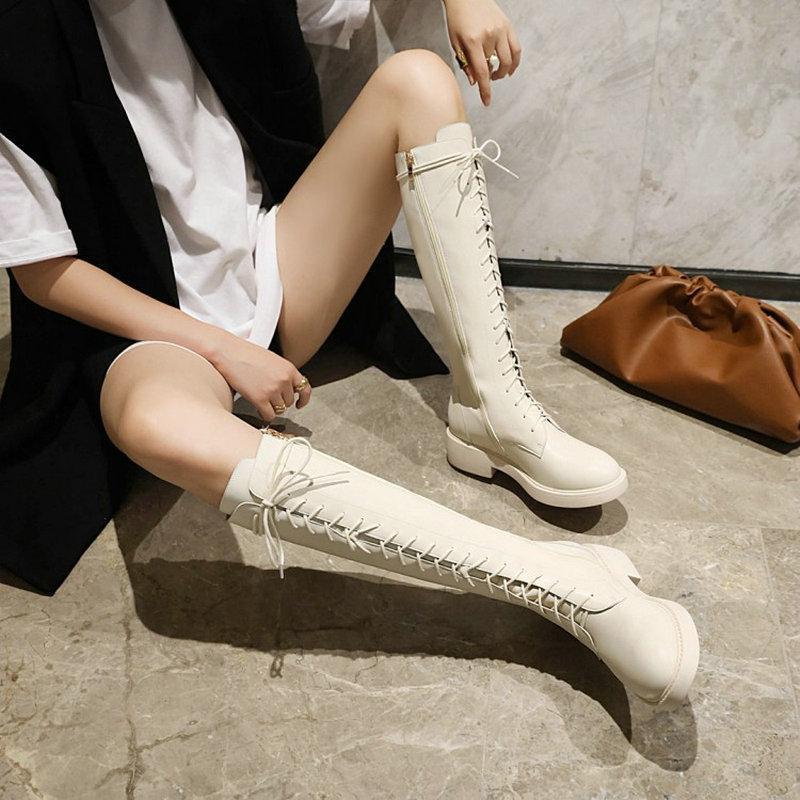 chaussures d'hiver de femme chunky talons moyens plate-forme beige brevet brevet PU en cuir d'équitation Bottes à lacets au genou Haute dame
