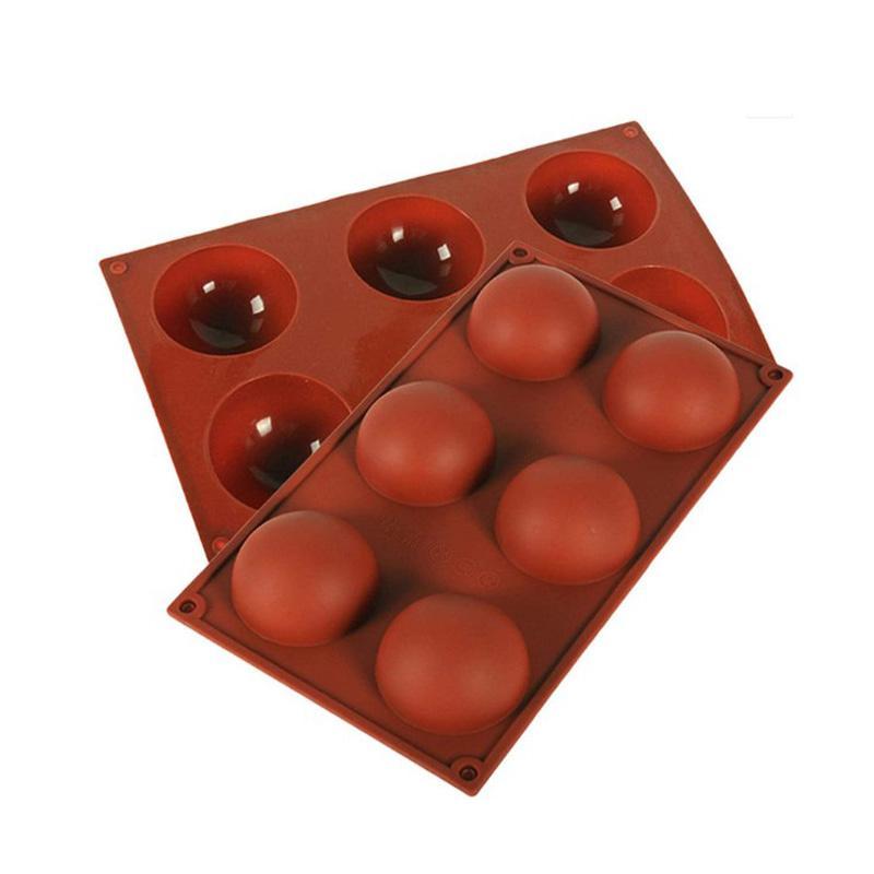 BPA الحرة سيليكون العفن ل كعكة الشوكولاته جيلي بودنغ شكل دائري نصف الحلوى قوالب غير عصا عالية الجودة سيليكون قوالب للخبز