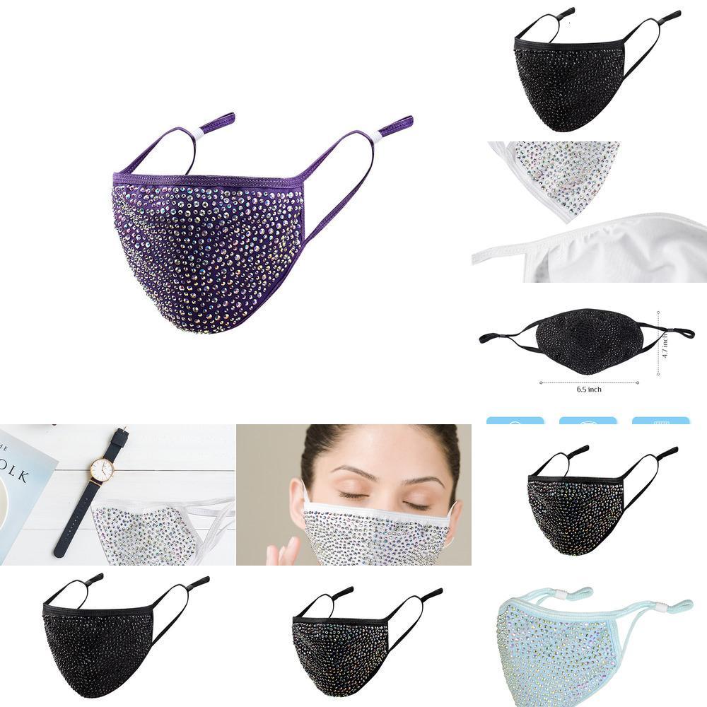 Masquerade Face Hrinestone Фабрика мода Bling Crystal для женщин многоразовая и моющаяся алмазная игристая маска черная 4 PMWI1