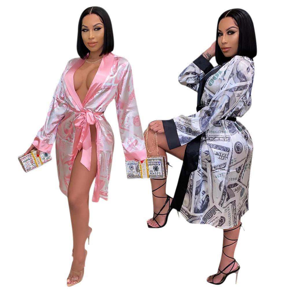 Домашняя юбка Смысл США Печать платье и шелковая одежда 2020 Женская повседневная сексуальная свободная женская пижама дизайнеров банкнота MLHIL