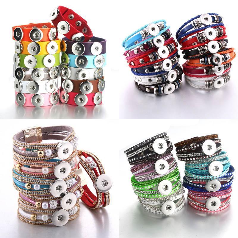 10 unids / lote al por mayor Nuevo trenzado de cuero trenzado 18 mm pulseras a presión bricolaje pulsera pulsera a presión intercambiable para las mujeres q sqcnkf