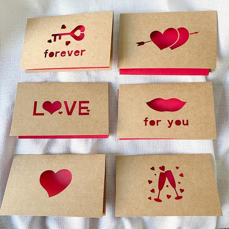 Kraftpapier Liebe Grußkarte Valentinstag Hohle Grußkarte Danksagung Geburtstag Hochzeit Segenkarten 6pcs / set