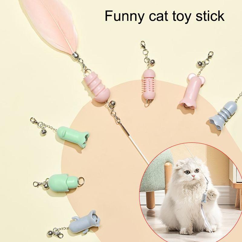 Chat chat jouets multi plumes teaser baguette dents nettoyage jouet chat entraînement exercice chasseur jouet 7pcs / set d6