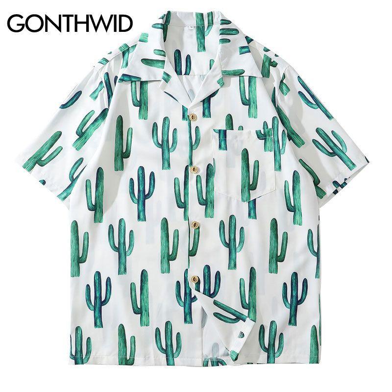 GONTHWID Cactus Print Short Sleeve Hawaiian Aloha Beach Shirts Harajuku Casual Holiday Tropical Shirt Men Fashion Summer Tops J1216