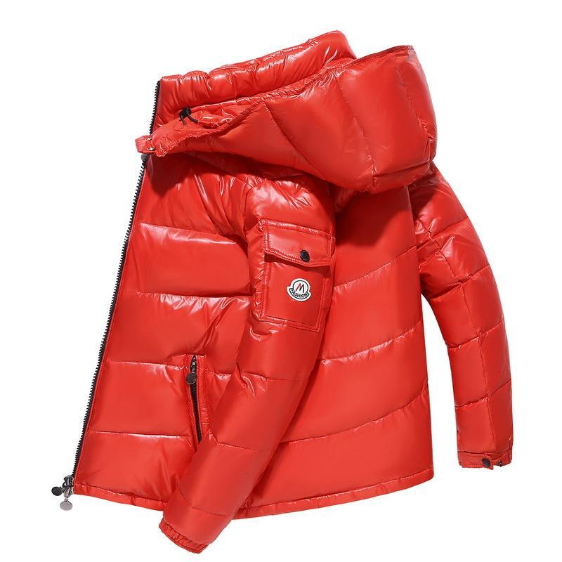 Giacca con cappuccio con cappuccio viso brillante per uomo in inverno