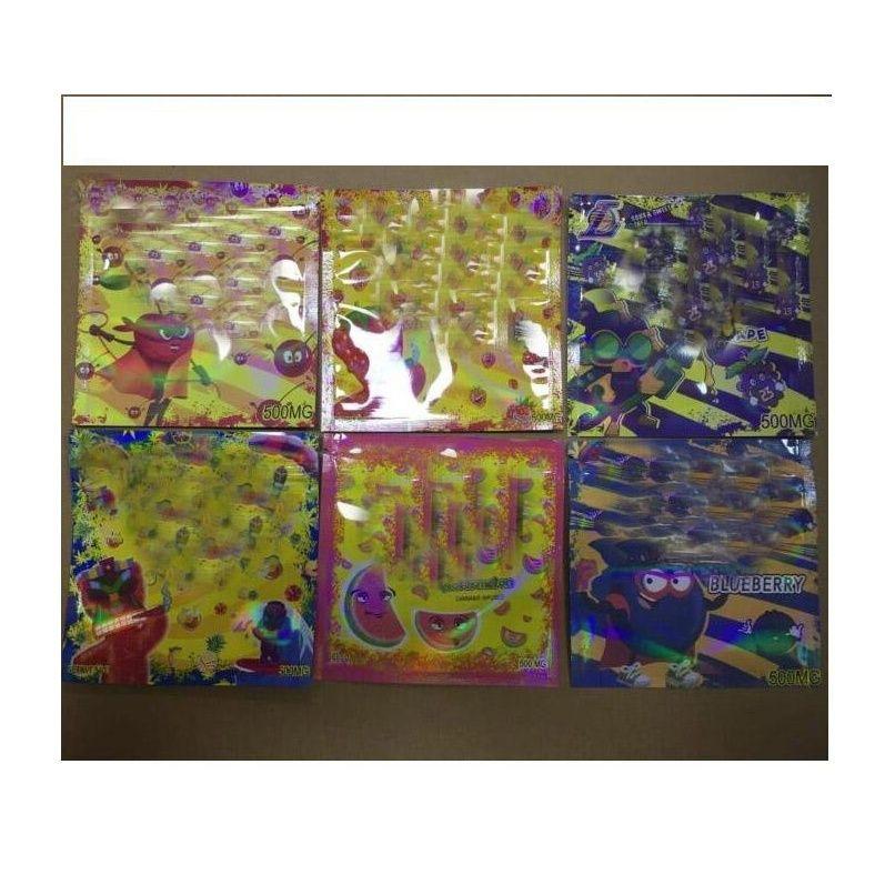 500mg odore a prova di odore mylar sacchetto del foglio 3 lati sigillato tappa piatta ceramica cannocchia cantoni infusi a gummies esotico 420 710 jlltld lucky2005