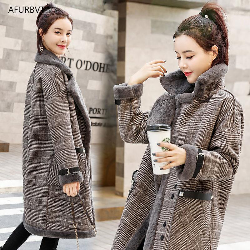 Kış Coat Kadın Kuzu Faux Kürk Kadın Kafes Yün Sıcak Sahte Kürk Lady Casual Ceket Abrigos Mujer Invierno 20201