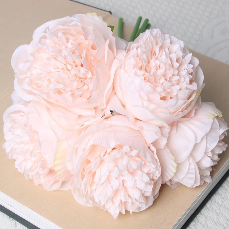 5 CABEZAS DE LOS 11 cm Diámetro Rose Pink Peony Flores Artificiales Ramo Flower Flower para la novia para el hogar Decoración de la boda Marria Jlllo