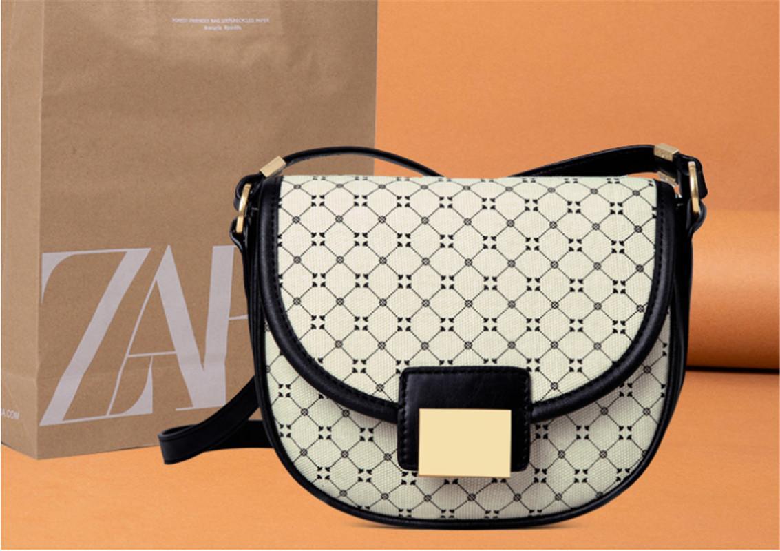 Invierno 2020 Nuevo Z-Familia Bolsas para mujer Geométrico Presiy Imprimir Sillín Bolsa Mujer Cross Body Bolsa Lienzo Pequeña Semicicia One-Shoulder Bag