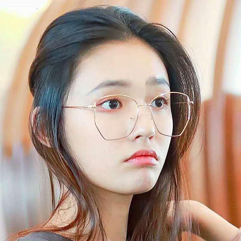 Poligon 2020 Kişilik Çerçeve Moda Kore Miyopi Düzensiz Gözlük Lens Kırmızı Düz Düz Kadın KSWPI