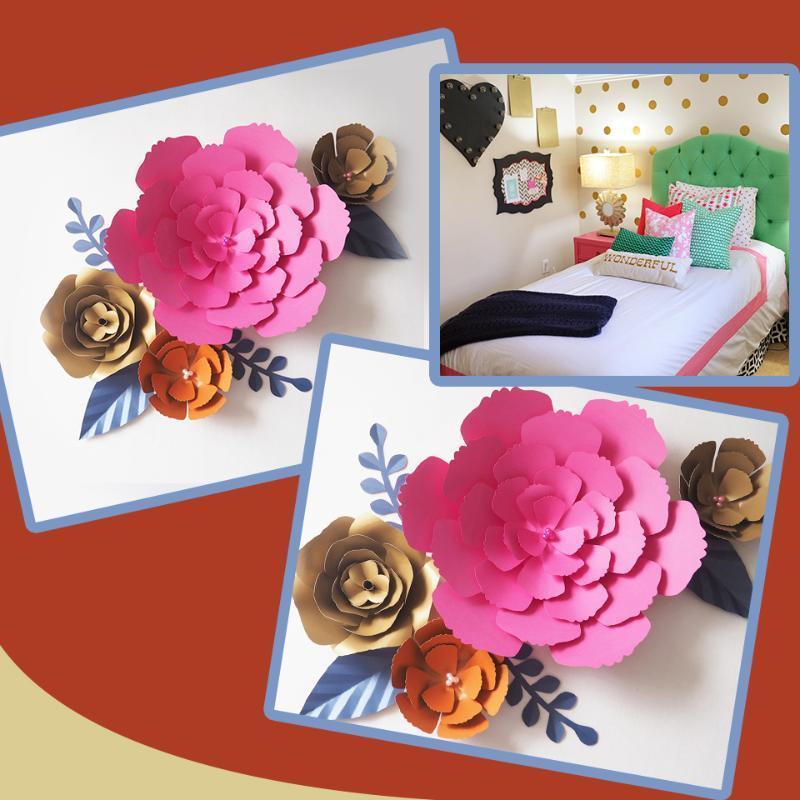 Flores decorativas Guirnaldas DIY Fleurs artificiales Artificielles Telón de fondo Papel gigante 4pcs de licencia para el tema de la pared de decoración de la pared