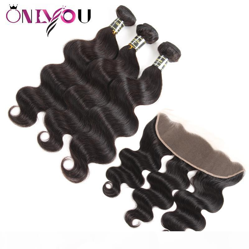 Wholesale offres au corps indien Vague Human Cheveux Humains 3 Bundles avec une vague de corps non transformée frontale Vierge Human Hair Wefts avec une fermeture frontale supérieure