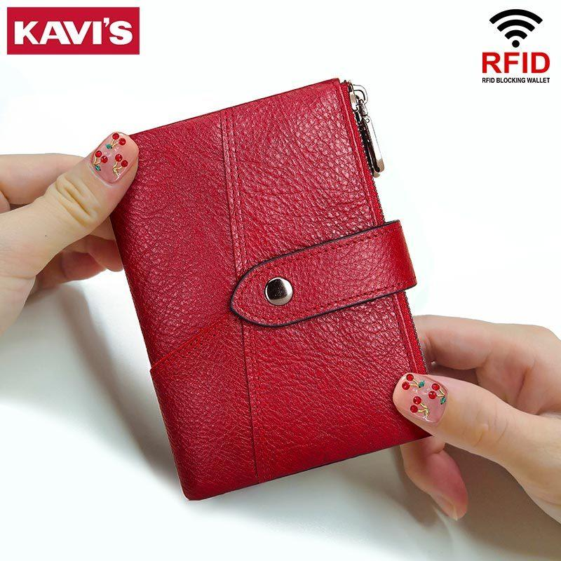 Asin Genuine Pelle RFID per portafoglio femminile Borsa a moneta Portomonee Money Girls Small Card Kavis Red Holder Moda Donna Colore NXNIQ