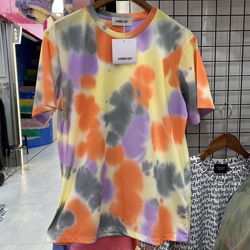실제 사진 새로운 넥타이 염료 T 셔츠 남성 여성 O 넥 코튼 캐주얼 탑 티셔츠 짧은 소매 티셔츠