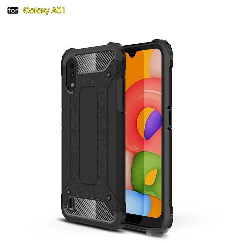 Caso de telefone da armadura anti à prova de choque para Samsung A01 Luxo Soft Silicone PC Hard Cover Cover Bumper