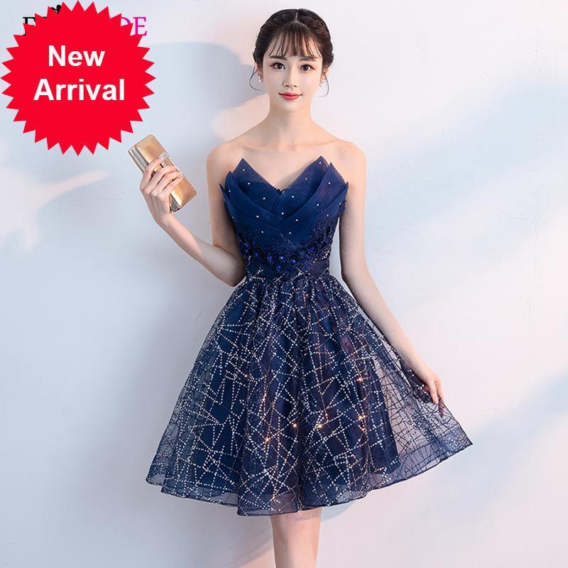 Sparkle Kısa Elbise ES2944 Lacivert Bir Hattı Diz Boyu Sequins Plise V Yaka Örgün Akşam Parti Elbiseler