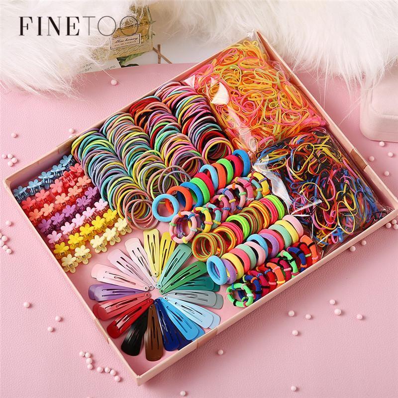 Mixed Rainbow Bunte elastische Haarbänder Seil Mini Blume Haarspangen Griff Klaue Barrettes Set Gummibänder Zubehör