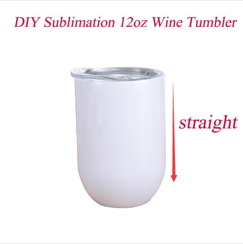 DIY 12oz sublimação vinho copo de vinho de aço inoxidável taças de vinho reta copos de ovo untosa óculos de vinho sem pálpebras de vácuo