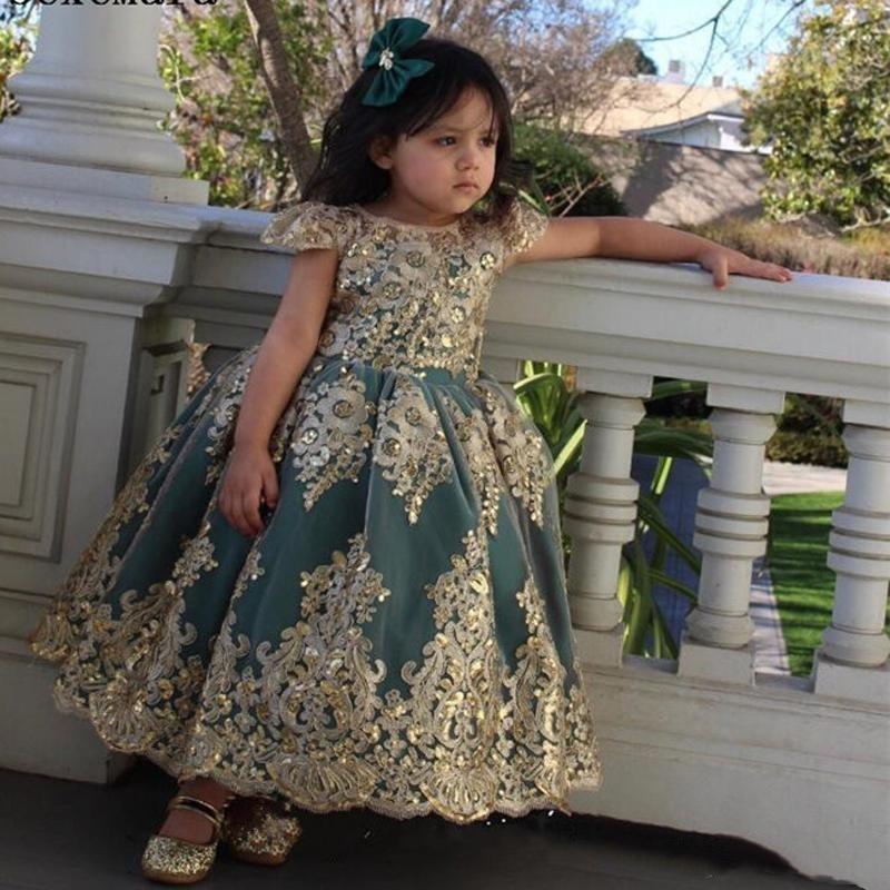 Güzel 2021 Koyu Yeşil Düğün Çiçek Kız Elbise Altın Yay Ile Aplike Tül Tutu Etek Pageant Parti Doğum Günü Abiye