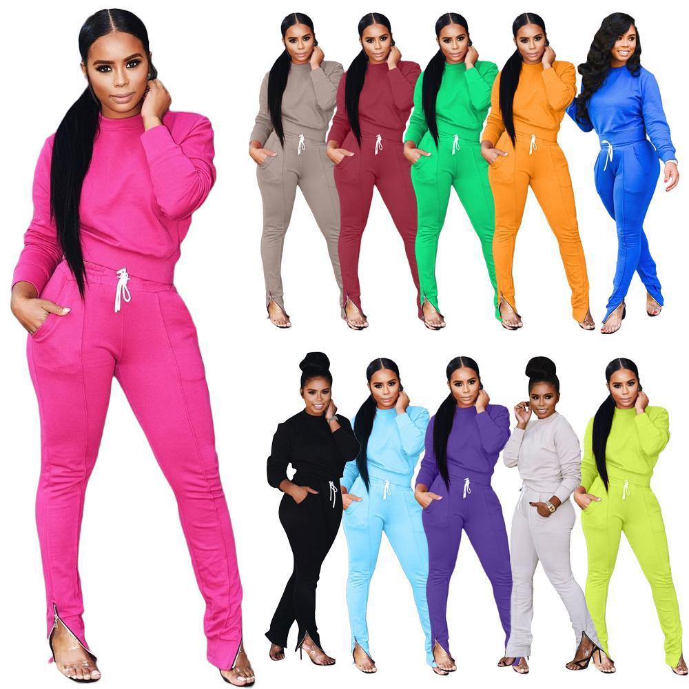 Женщины S дизайнеров Scestsuits осень зима 2 штуки набор осень одежда повседневная с длинным рукавом на молнии карандаш брюки наряда дам спортивная одежда
