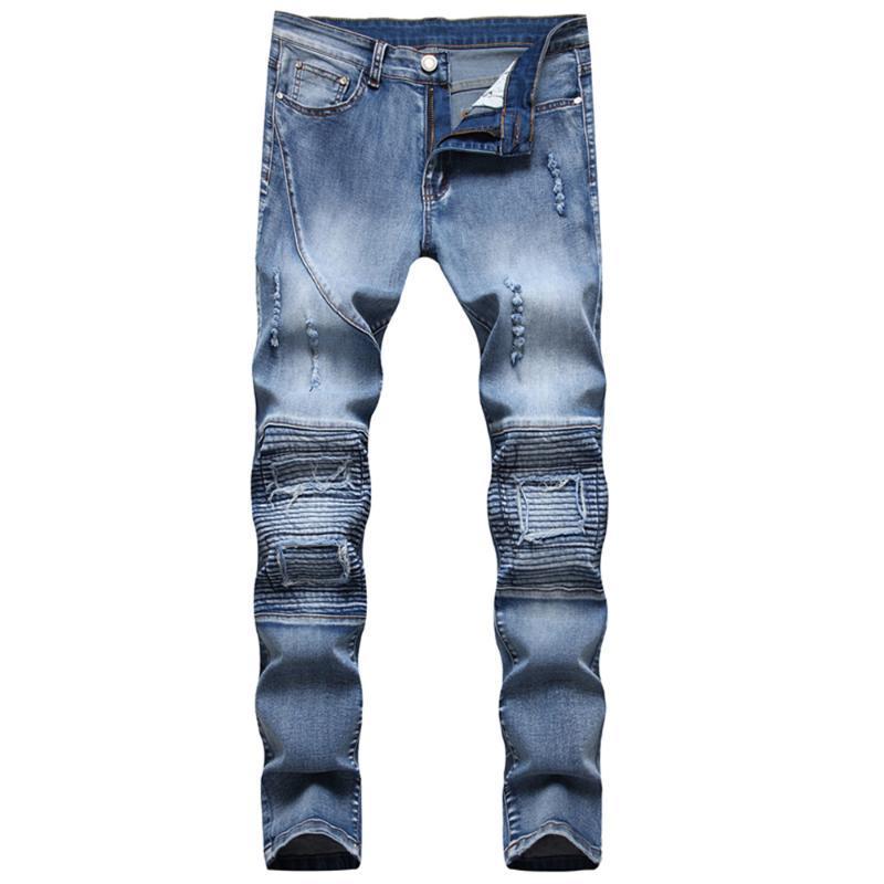 Новые европейские американские мужские на молнии повседневные джинсы разорвал сложные похудения прямые ноги брюки мотоцикл джинсовые штаны