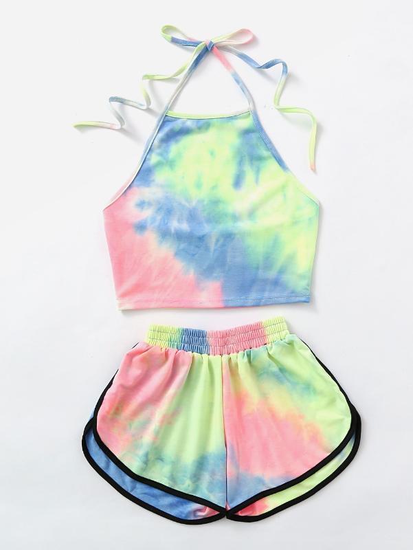 Tie-Dye Gradient Halter Cult Top y Shorts Set de 2 piezas, 2020 mujeres sexy Verano Nuevo tanque de moda Camis Sets Holiday Ogy1