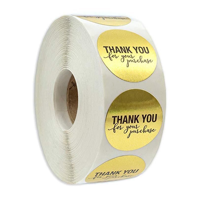 """라운드 골드 """"구매를 주셔서 감사합니다""""스티커 인감 레이블 500 라벨 스티커 패키지 편지지 스티커에 대한 스크랩북"""