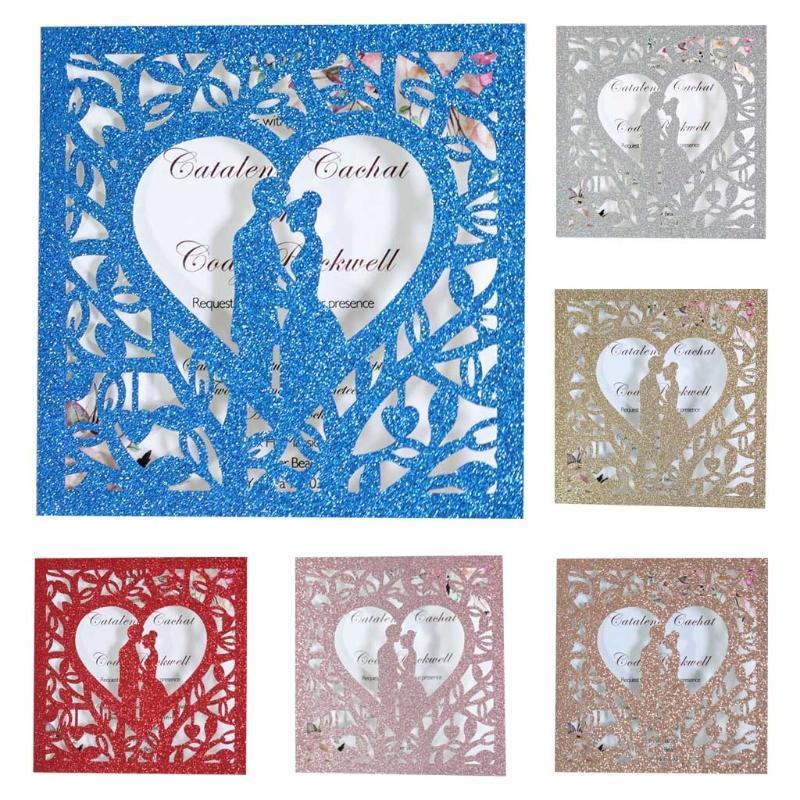 20 шт. / Установлено Свадебные приглашения Карты Блеск Полая поздравительная открытка Пригласить конверт H7EA