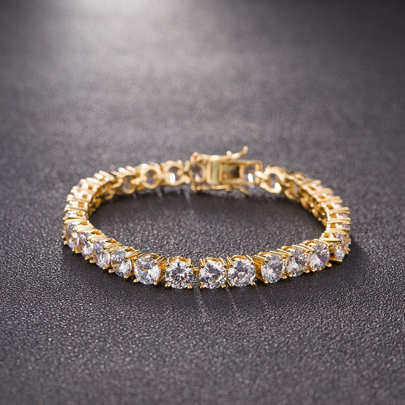 3/4/5/6mm 7/8inch Men Iced Out Cut Tennis CZ Bracelet Triple Lock Hiphop 1Row Luxury Bracelets