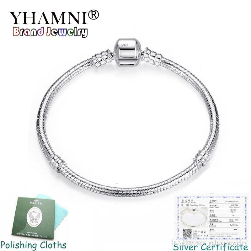 Yhamni Ince 3mm Charm Zincir Bilezik Charms 925 Gümüş Orijinal Bilezik DIY Takı Sevgililer Günü Hediyesi PB005