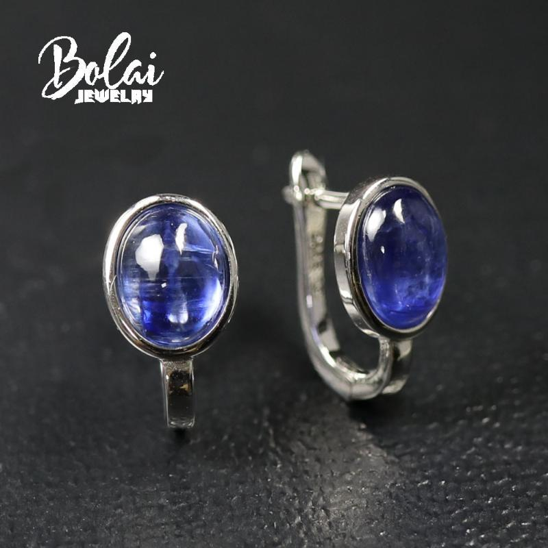 Bolaijewelry, 4,6 ct orecchini naturali di kyanite, design semplice in argento 925, per le donne usura quotidiana gioielli di moda