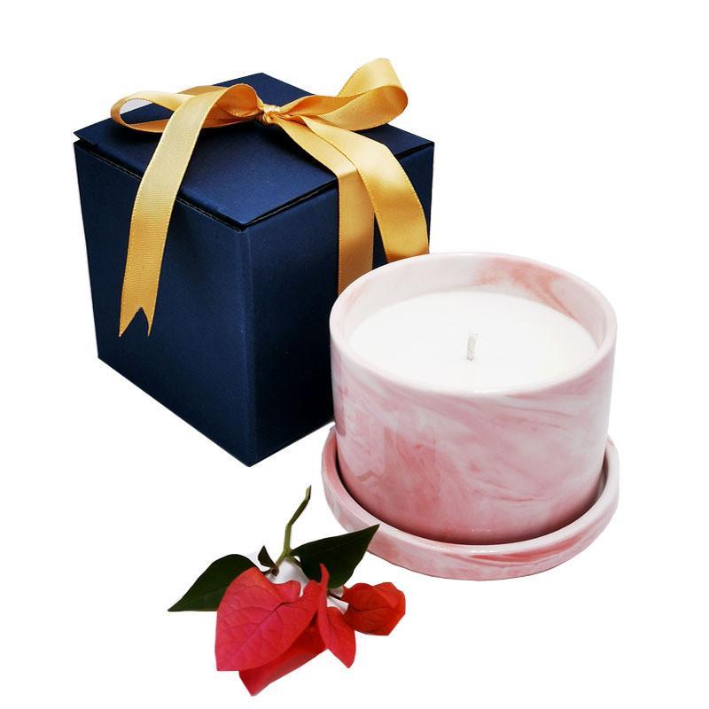 Nova Diy Scented Frasco De Cerâmica Vela Natural Eco-Amigável Aromaterapia Cera Vela Verde Chá Grepefruit Vanilla Cereja Cereja Scented Candle IIF73