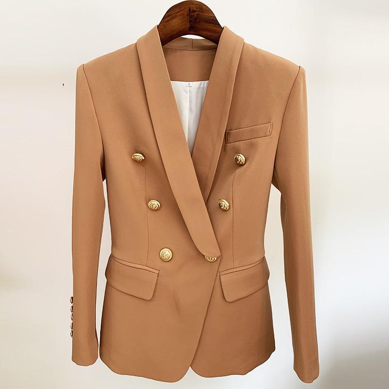 2020 Mesdames Blazer Blazer Blazer Veste Classic Métal Double boutonnage Or Bouton Coup de châle Col Café Blazer Femme Haute Qualité X1214