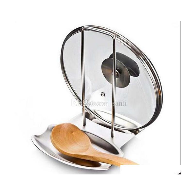 Speisen Küchenzubehör Edelstahl Topf Deckel Regal Küche Organizer Pan Cover Deckel Rack Ständer Schwamm Löffel Halter Geschirrständer Dnikl