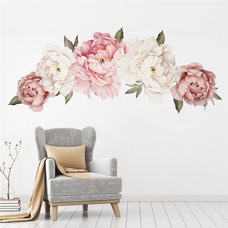 Duvar Çıkartmaları Pembe Beyaz Suluboya Şakayık Çiçekler Çocuk Odası Için Oturma Yatak Odası Ev Dekorasyon Çıkartması Dekor Çiçek