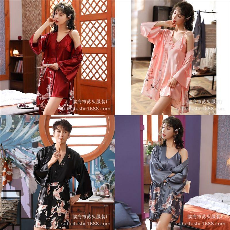 Vo8 Soft Super Warm Full Sleeve Robe Long Bath Lovers Women's Female Kimono Ice Silk Bathrobe Dressing Gown bathrobe erotic Silk Flower
