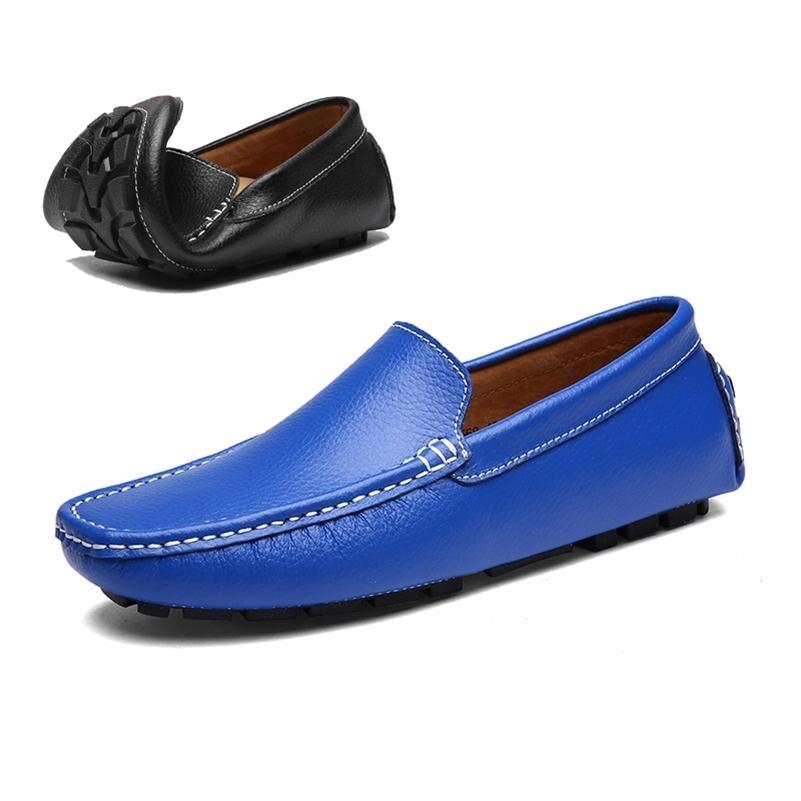 Agsan cuero genuino hombres mocasines mocasines azules para hombre zapatos de conducción tamaño grande 38-47 zapatos de mocasines italianos zapatos casuales hechos a mano 201212