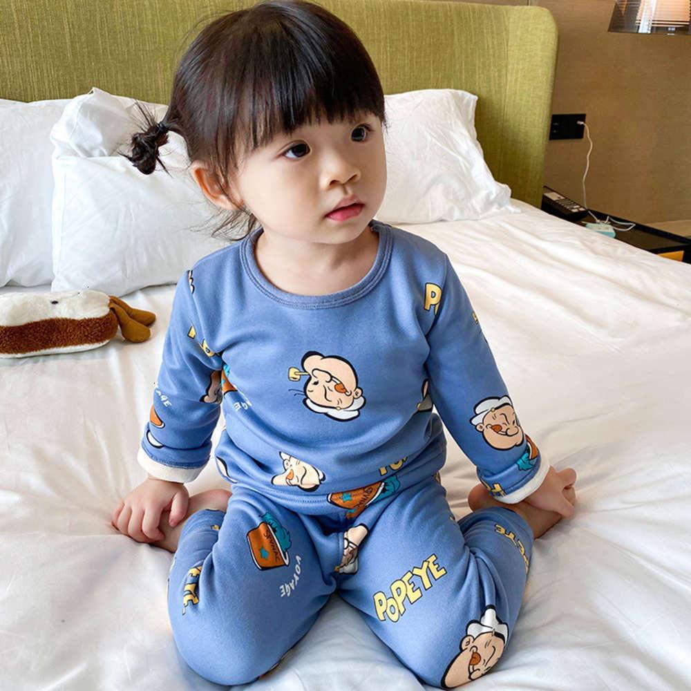 y ropa interior infantil con un paño de niñas espesado de peluche, pantalones de otoño, pijamas para niños, tela de invierno para bebés