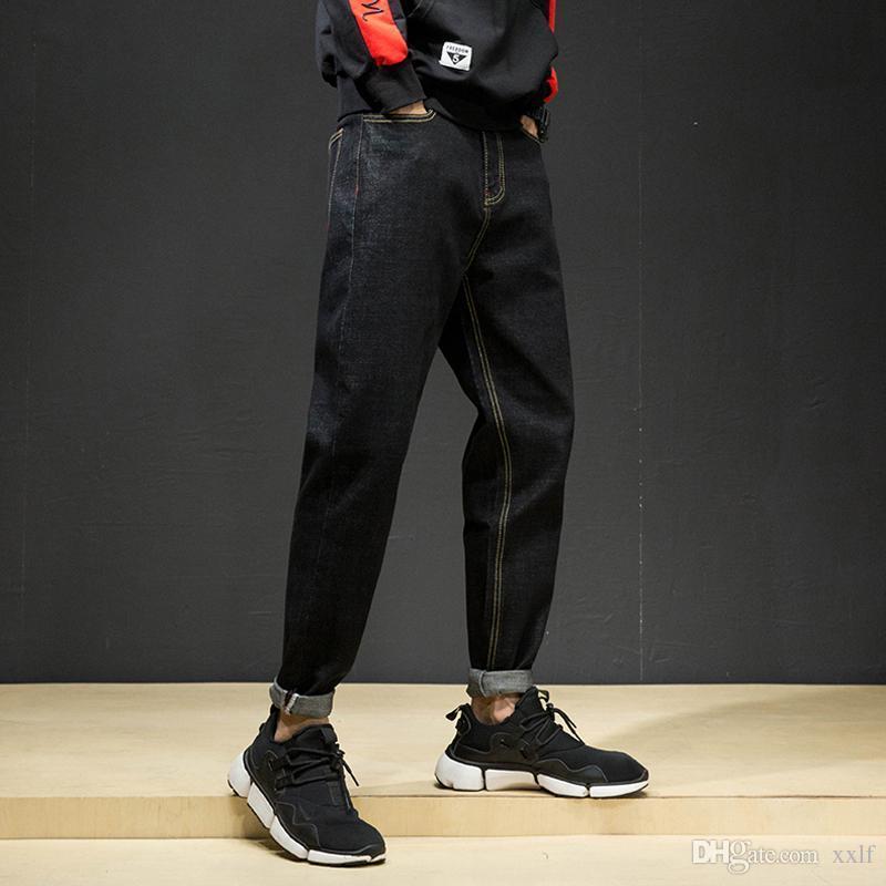 Koreanische Art Mode Männer Jeans Lose Fit Elastische Haremhose Vintage Schwarz Einfache Bleistift Hosen Streetwear Hip Hop Jeans Männer