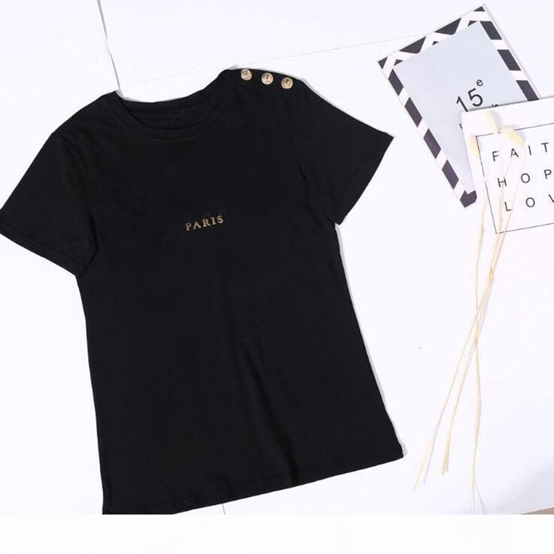 Bronzlaştırma Baskı Mektup Bayan T Gömlek Kısa Kollu Kadın Tshirt Üzerinde Boyutu Tişört Kız Kadın Yaz Moda Giyim Yeni