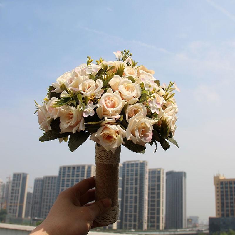2021 Cuento de hadas Ramo de boda Novia con flores Artificial Rose Peony Calla Lirios Falsas hojas Flores Party Party Decoraciones al 7919