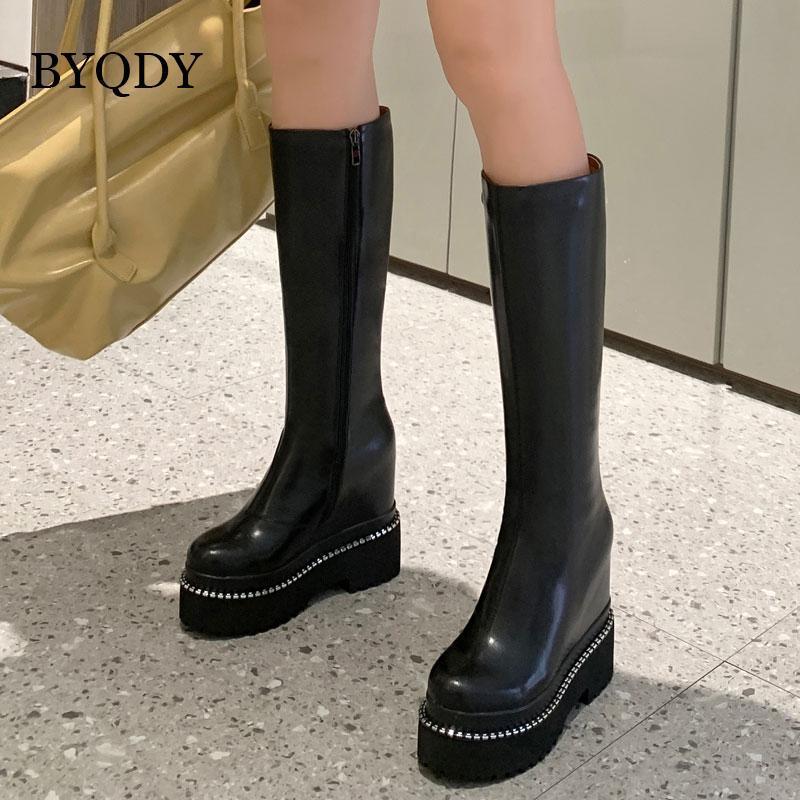 BYSDY CONEE High Boots Женские сексуальные высокие каблуки платформа платформа зимняя бочка на молнии натуральная кожаная труба фетиш обувь плюс размер 41