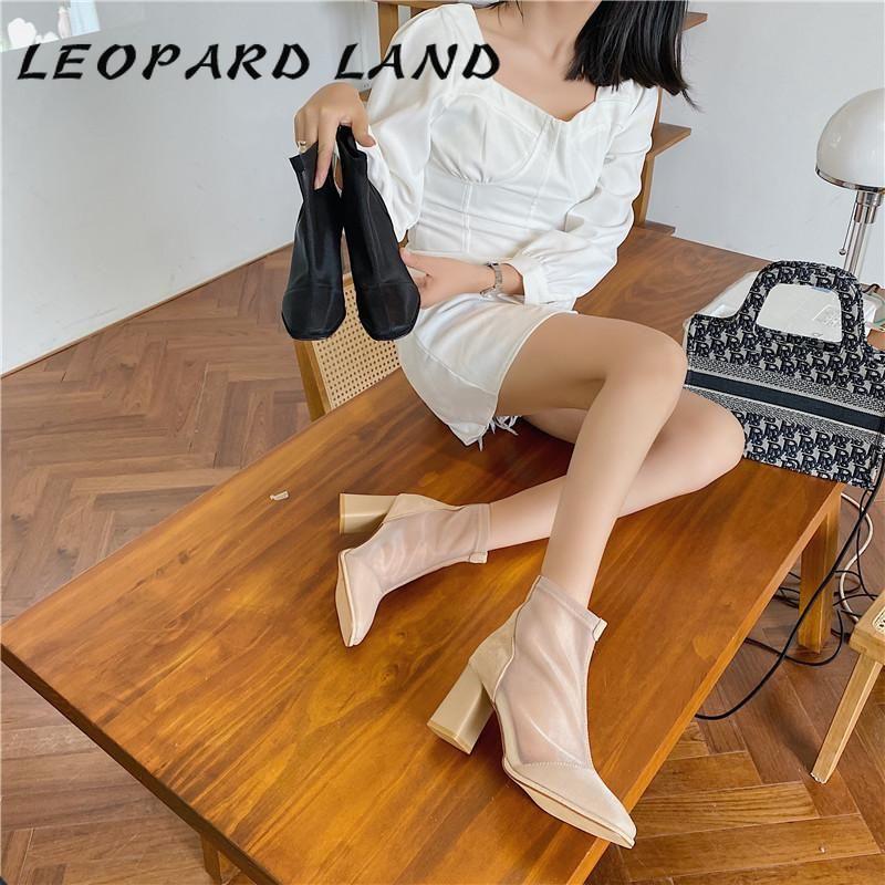 Boots Leopard Land Женская сексуальная позывная коренастая пятка сетки на молнии высокая лодыжка черный хаки цвет -167