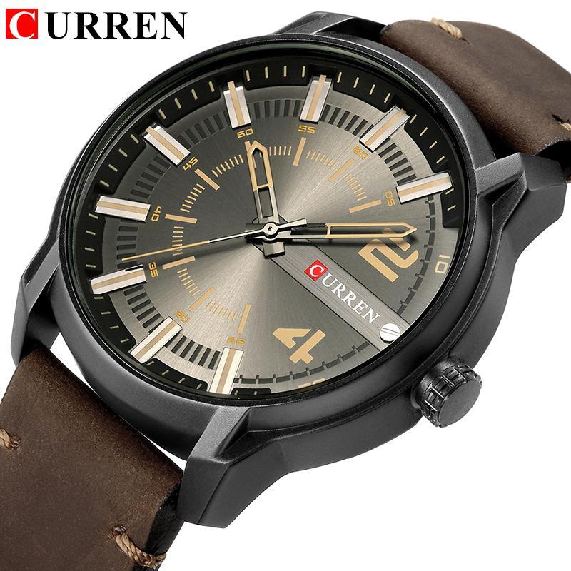 Curren Üst Marka Lüks Moda Benzersiz Kuvars Erkekler Saatler Deri Kayış İş Bilek İzle Montre Homme Reloj Hombre