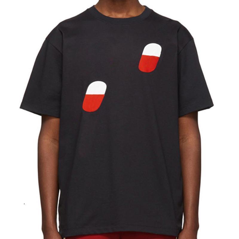 19SS 인쇄 티 여름 패션 고품질 베이지 색 검은 색 면화 남성 여성 커플 캐주얼 스트리트 티셔츠 통기성 승무원 목 HFLSTX40