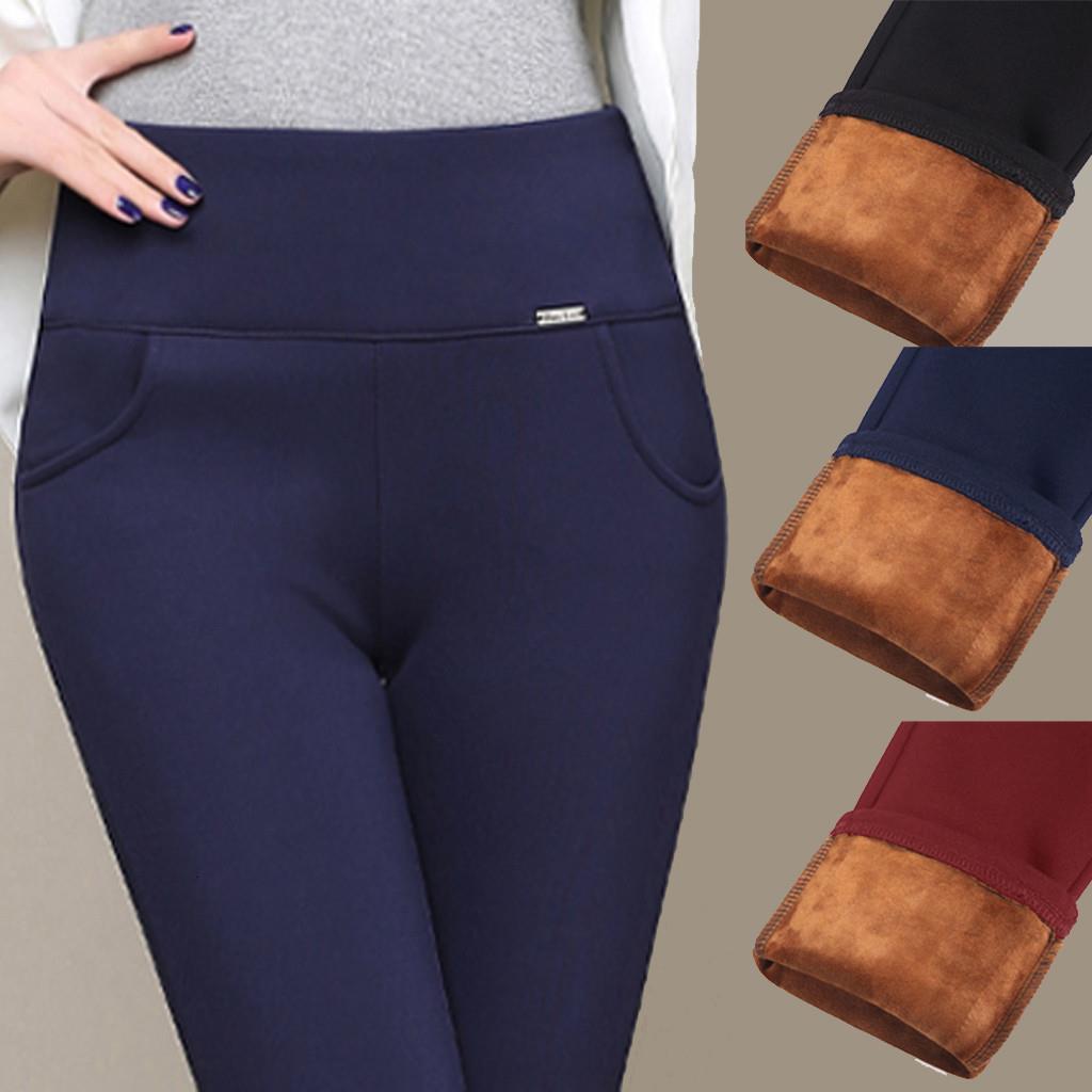 Femmes Hiver Leggings Plus Taille Taille High Taille Étendue Épais Manche Skinny Skinny Skiny Velvet Pantalon Pantalon Dame Pantalon 2019 Nouveau