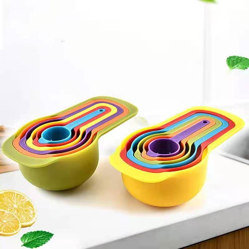 Цветная градуированная мерная ложка 6 шт. Набор пластиковых радуги измерительная ложка измерения цилиндра кухня кухня DIY инструмент для выпечки молока порошок ложка