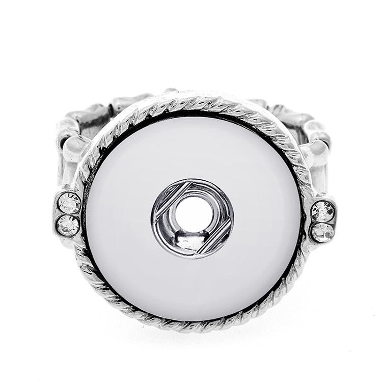 20pcs/lot New Fashion Snap Jewelry Ring Flexible Adjustable 18mm Snap Button Metal Silvery Ring Party Charm Snap Button Jewelry
